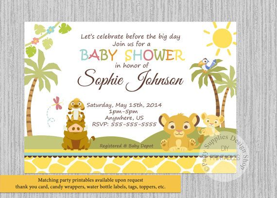 Simba Lion King Baby Shower Invitations, Simba Baby Shower Invitations, Baby  Shower Invitations, Baby Simba Digital Invitations, Simba Party
