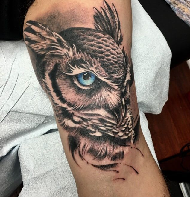 10 Great Horned Owl Tattoo Ideas Petpress In 2020 Owl Tattoo Design Owl Tattoo Owl Eye Tattoo