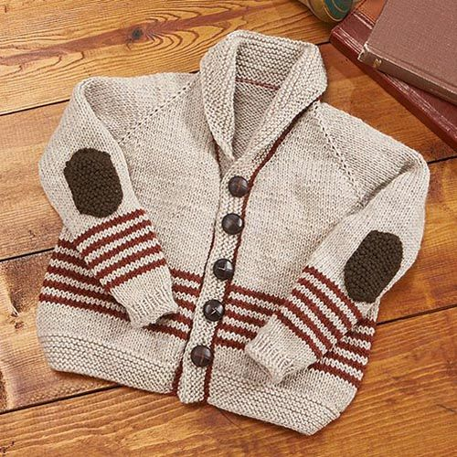 """Professor Sweater Free kids cardigan Knitting Pattern from Willow Yarns: Keep your little guy nice and warm on the way to school or running around outside on a cool autumn afternoon in a sophisticated, yet adorable, cardigan. Skill Level: Intermediate Sizes: 1 (4, 6, 8, 10)yrs Finished Measurements: Chest: 24 (26, 28, 30, 32)"""" [61 (66, 71, 76, 81)cm] Materials: Willow Yarns™ Daily DK • 0064 Cream Soda Heather—2 (2, 2, 3, 3) balls • 0068 Pumpkin Heather—1 ball all sizes • 0054 Dark…"""