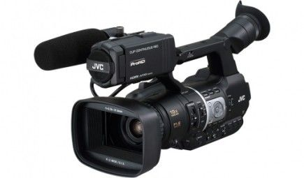 JVC JY-HM360:  The JVC JY-HM360 handheld HD Memory camcorder with dual SDHC/SDXC card slots, light enough to take with you anywhere, ideal for use by wedding and event videographers.