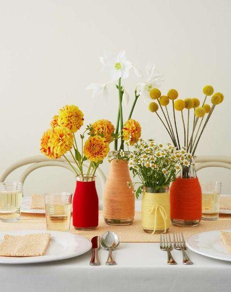 yarn or twine wrapped glass jars for vases: Yarns Wraps Bottle, Wedding Ideas, Vintage Bottle, Gifts Wraps, Bottle Centerpieces, Glasses Bottle, Old Bottle, Mason Jars, Wraps Gifts
