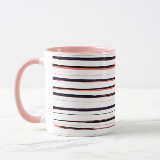 Stylish 60s lines art Mug : Pink and stripes