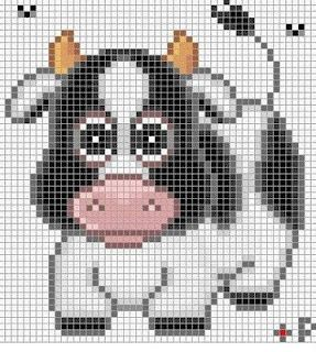 Cow- this was so cute, all i can imagine is a little farm themed baby blanket :) - Crochet / knit / stitch charts and graphs