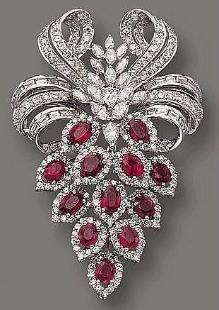 Ruby and diamond brooch #rubyjewelry #DiamondBrooch