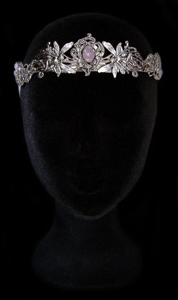 Silver Fairy Crown - Rose Water Opal - Elven Circlet - Fairytale - Hair Jewelry - Pixies - Magical Tiara - Titania the Fairy Queen