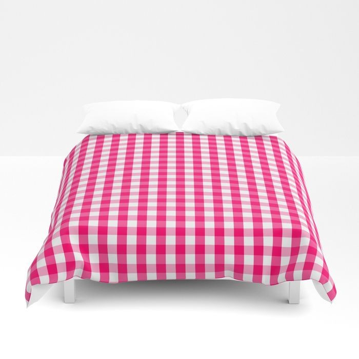 Hot Neon Pink And White Gingham Check Duvet Cover Bed Bedding Homedecor Duvet Another Reason To Never Leave Your Bed Duvet Covers Duvet Soft Duvet Covers