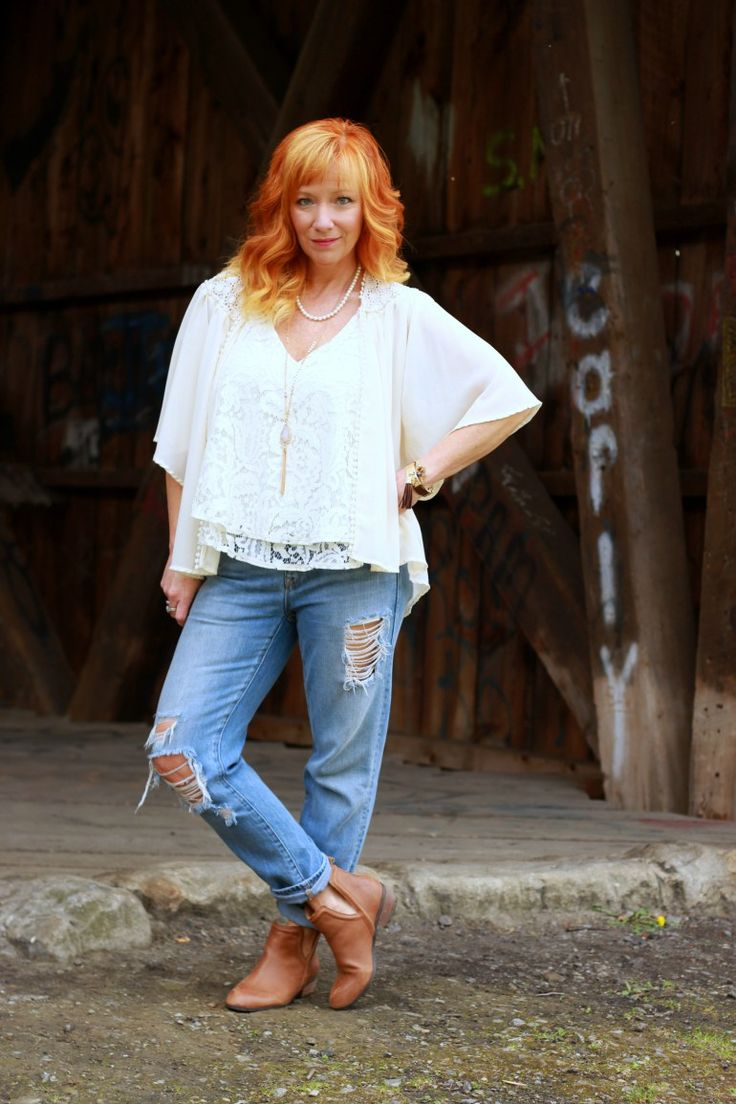 Fashion Fairy Dust style blog: lace tank top, kimono, distressed boyfriend jeans, brown ankle boots
