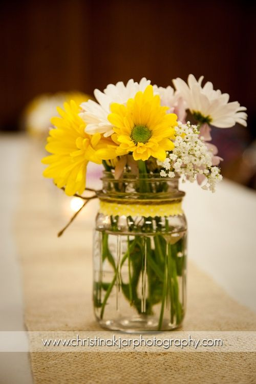 Mason Jar Centerpieces Mason Jar And Daisy Centerpiece