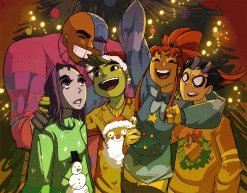 Christmas With the Titans -Love this artist =D Find her here http://ceshira.deviantart.com/