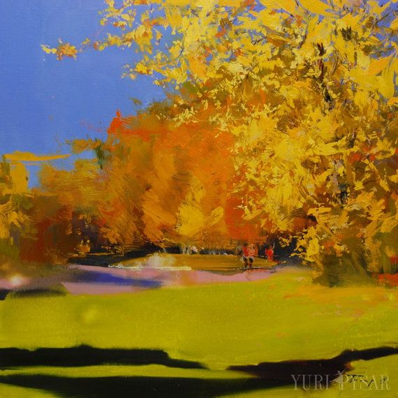 Vibrant landscape painting Abstract painting autumn by Pysar