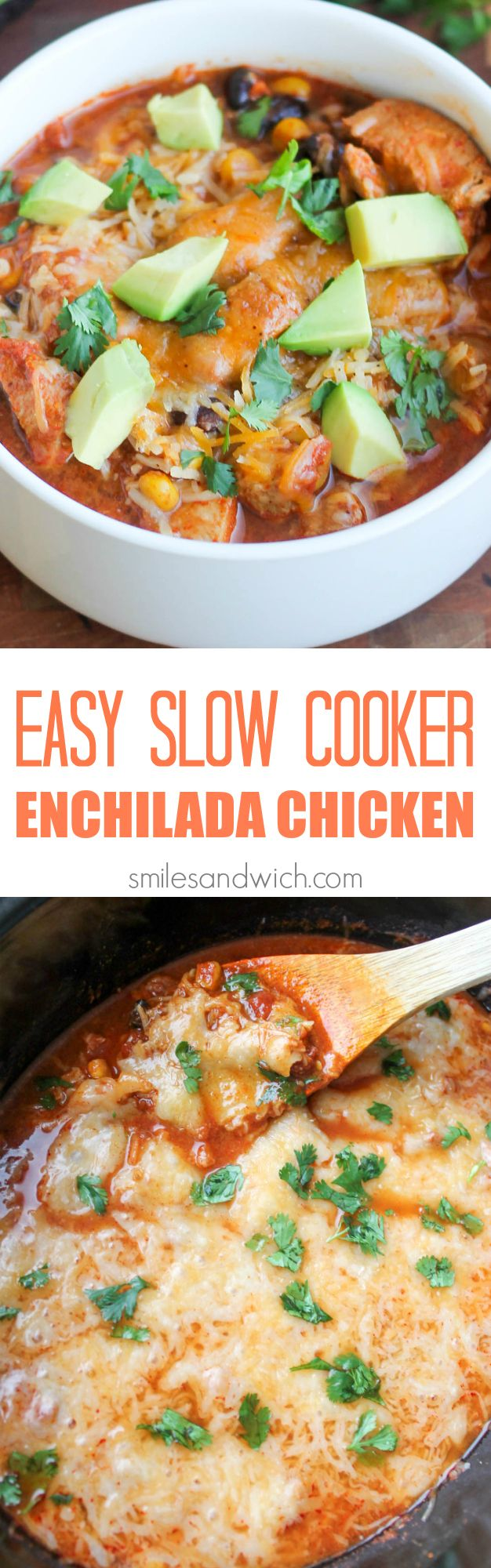 Easy Slow Cooker Enchilada Chicken - a dump and go healthy slow cooker recipe that has all the flavors of chicken enchiladas, without the tortillas! low carb slow cooker recipes, healthy slow cooker recipes, easy slow cooker recipes, slow cooker recipes for dinner, chicken slow cooker recipes
