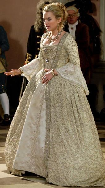 """Sophia Myles from the Doctor Who episode """"The Girl in the Fireplace"""" -- in a gown originally worn by Helen Mirren in The Madness of King George"""