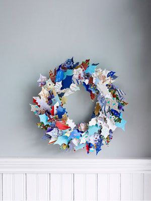Recycle holiday greeting cards into holly leaves for this one-of-a-kind decoration.Christmas Wreaths, Christmas Cards, Ideas, Paper Wreaths, Holiday Cards, Cards Wreaths, Greeting Cards, Recycle Christmas, Crafts