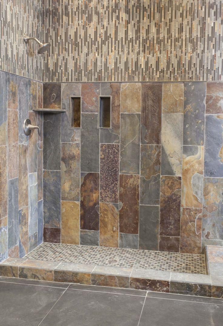 185 best bathroom designs images on pinterest bathroom designs rustic slate and glass tile shower