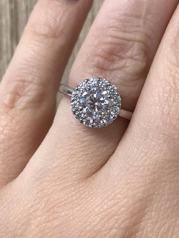 Engagement Ring / Moissanite Rings / Diamond Halo Ring