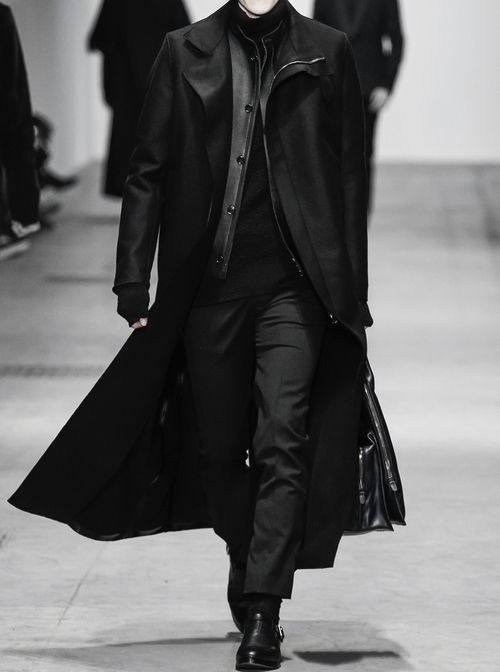 Winter Apparel in black. The coat is perfect in length and proportions. I would contemplate larceny for this.