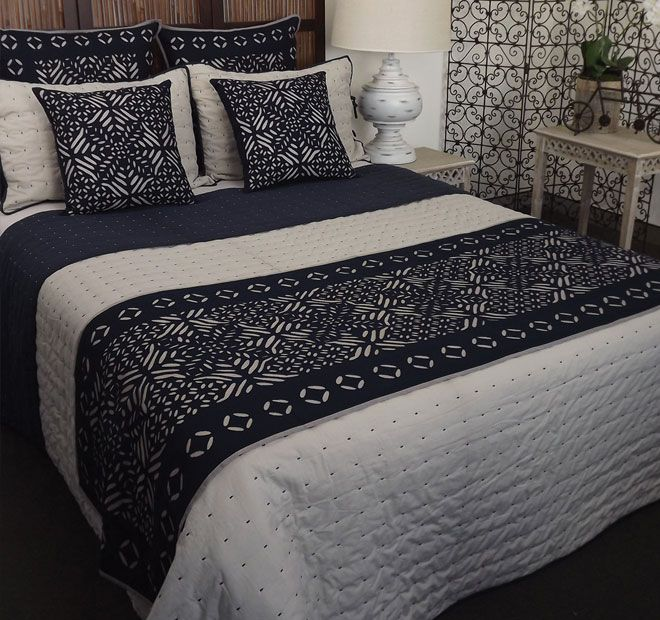 Venice Natural and Navy DG37 - Features: 100% cotton cover, Polyfibre fill, Rayon trim, Cool hand wash, Do not rub, wring, soak or bleach, Lay flat to dry away from direct sunlight, Hot iron on reverse side only, Dry cleaning recommended, Made in India. Set Contains: x1 Comforter - 260cm x 240cm x2 Standard Pillowshams - 48cm x 73cm - #coverletsandcomforters