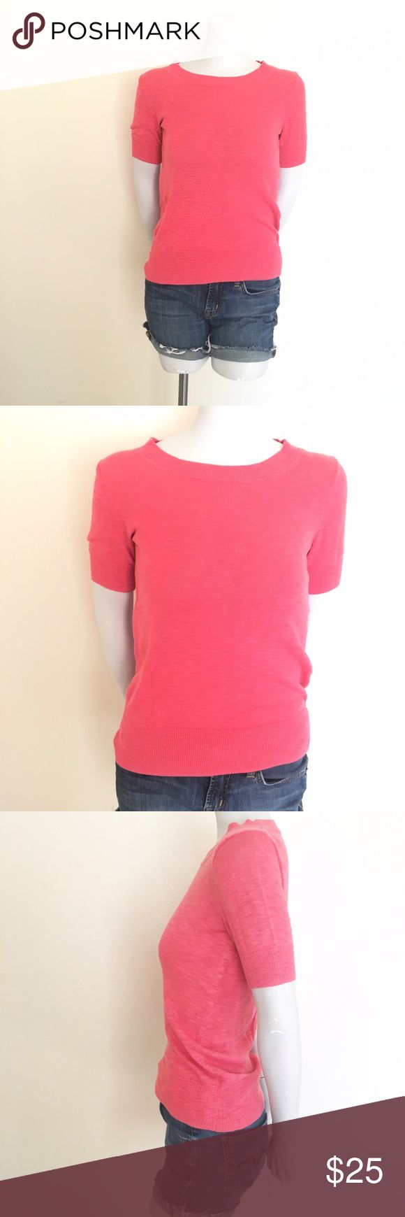 """J. Crew Short Sleeve Cotton Sweater - Size: X-Small  - Material: 100% Cotton  - Condition: EUC  - Color: Coral  - Lined: No  -Stretch: No   *Measurements taken laying flat:  Bust: 16.5"""" Hips: 13""""  Length: 23""""    * Almost all my prices are negotiable and no offer offends me! * J. Crew Sweaters"""
