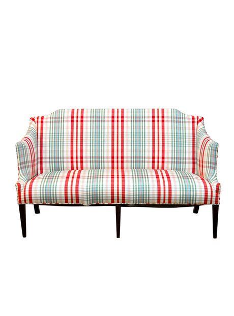 Modern Sheraton Style Plaid Settee Sofa