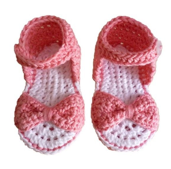Baby Bow Sandals. Handmade using 100% natural cotton. Colour: Girly pink. Sizes: 0-6m, 6-12m #olivebyclare