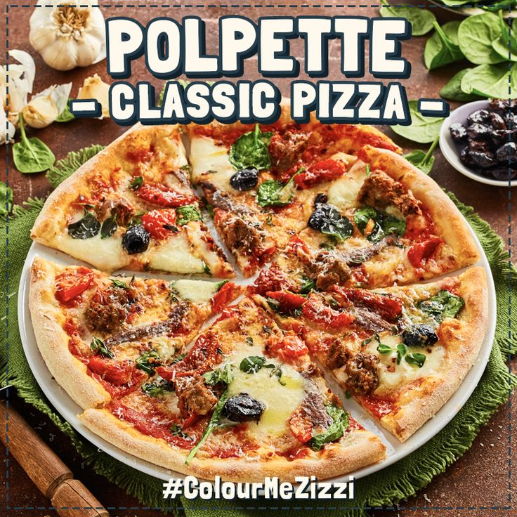 Classic Polpette lamb & red pepper meatballs, anchovies, Fior di Latte & smoked mozzarella, spinach, olives, sunblush tomatoes, crushed chillies, roasted garlic cloves & smoked garlic oil. #ColourMeZizzi