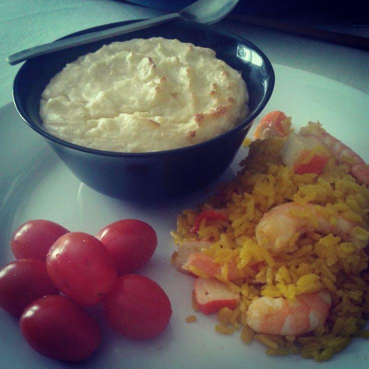 Risoto de frutos do mar e Soufflé de Batatas recheado com Paté de Salmão.