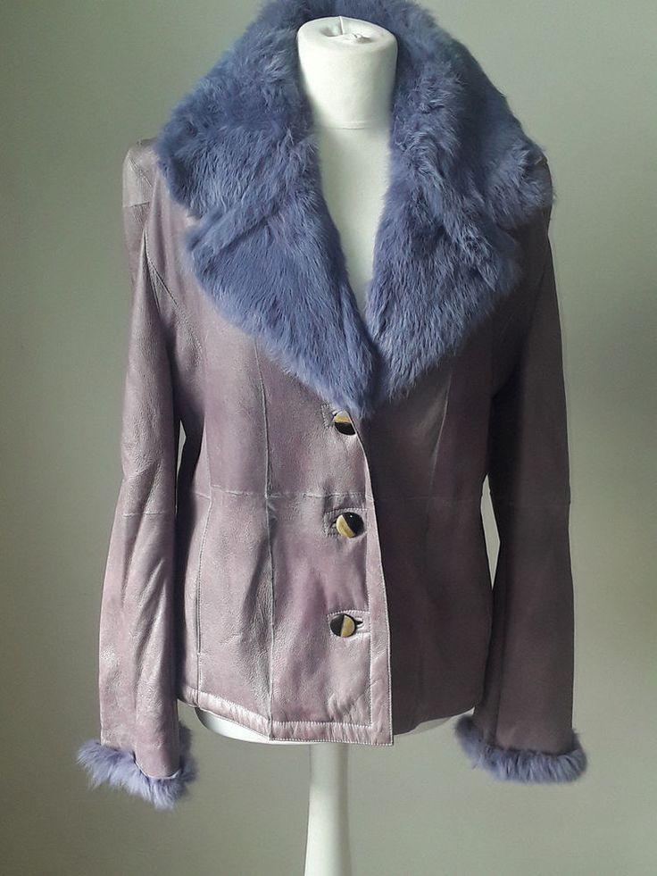 Lilac coloured Ross la Vie  Leather fur lined jacket #RosslaVie #BikerJacket #Outdoor
