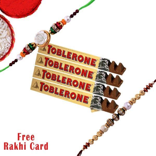 Rakhi With Toblerone - Chocolates Hampers - Rakhi Hampers - Rakhi