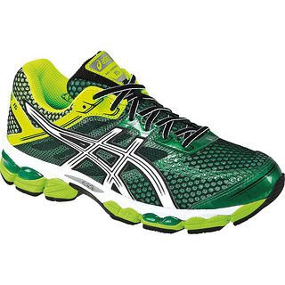 All kinds of different GREENS combine in the Asics Gel Cumulus 15 Pine /  White / Flash Yellow for men