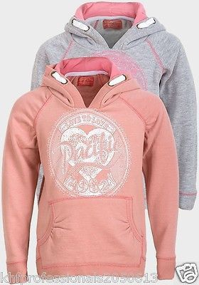 Girls Hoodie Soft fleece Funky Diva Embroidered New reverse side Contrast Cotton