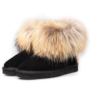 Amazon.com: Ausland Women's Casual Suede Leather and Fox Fur Short Boot 5.5 B(M) US Black: Shoes