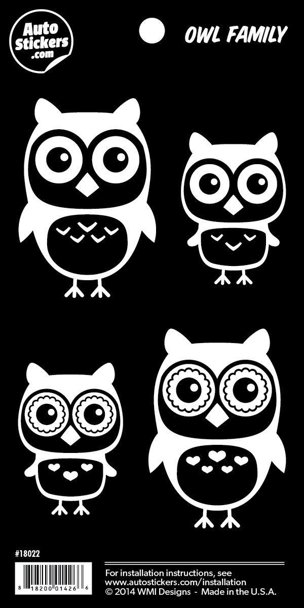 """Owl Family Stickers - 4"""" x 8"""""""