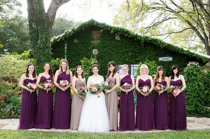 Dee, check this weddin' out. Plum bridesmaid dresses. Vintage Romantic Pink & Plum Wedding