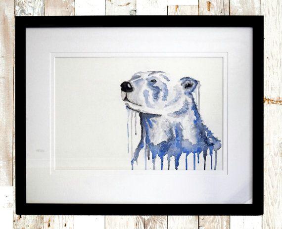 Blue animal art, Fine art print, Polar bear print, Bear Print, abstract art print, Nursery wall art print, Blue art print, Animal Art Print