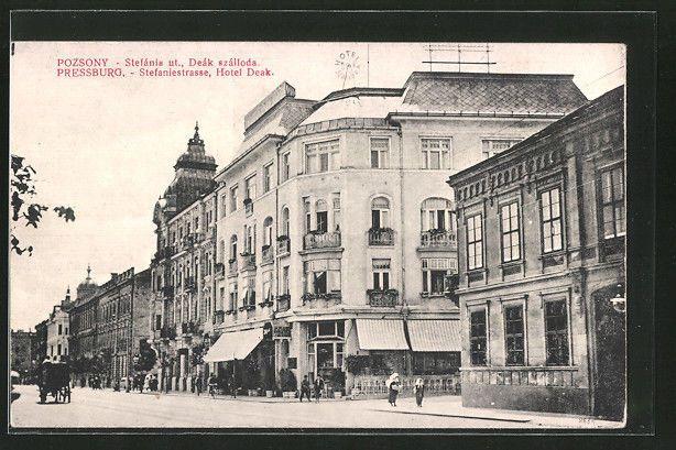 AK Pozsony-Pressburg, Stefánia ut., Deák szálloda, Stefaniestraße, Hotel Deak