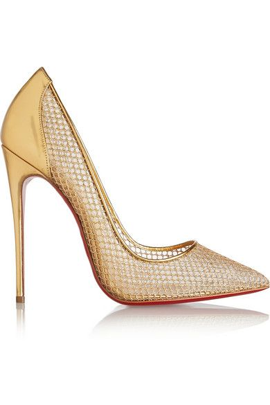 Heel measures approximately 120mm/ 5 inches Gold leather and fishnet Slip on