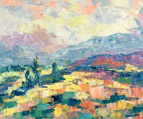 Paisaje de montaña de pintura abstracta pintura al óleo