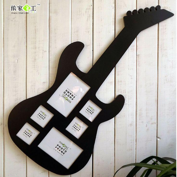Marco de fotos madera con forma de guitarra