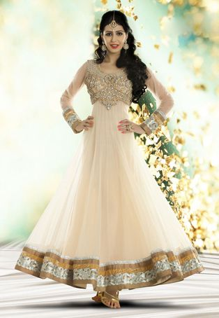 Wedding Dress ?? Light Beige Net Readymade Abaya Style Churidar Kameez