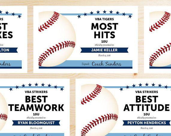 Editable Baseball Award Certificates - INSTANT DOWNLOAD PRINTABLE - Light Sky…
