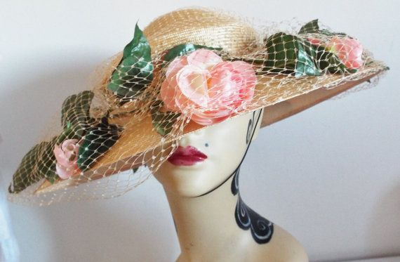 Vintage Hat  CREAM FINE Straw Wide Brim Dress Hat with Pink flowers and Netting over brom by Philip Somerville