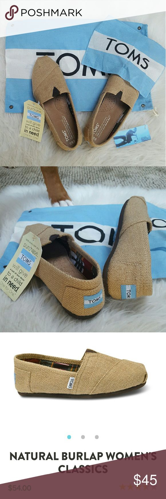 TOMS Natural Burlap Classics Shoes Classic TOMS in natural burlap. Never worn, still with tags. No box, but bag and flag is included.(Sadly, they are too big for me). TOMS Shoes