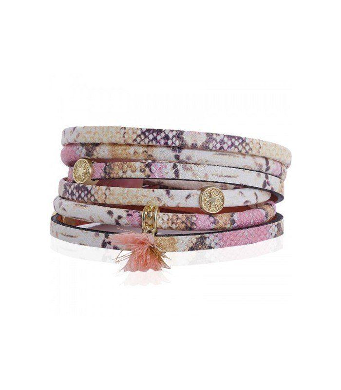 Wikkelarmband in gele kleur met opdruk en kwastje. De mooiste Armbanden koop je online Snelle levering Trendy en moderne Armbanden Gele armbanden... | Yehwang fashion en sieraden