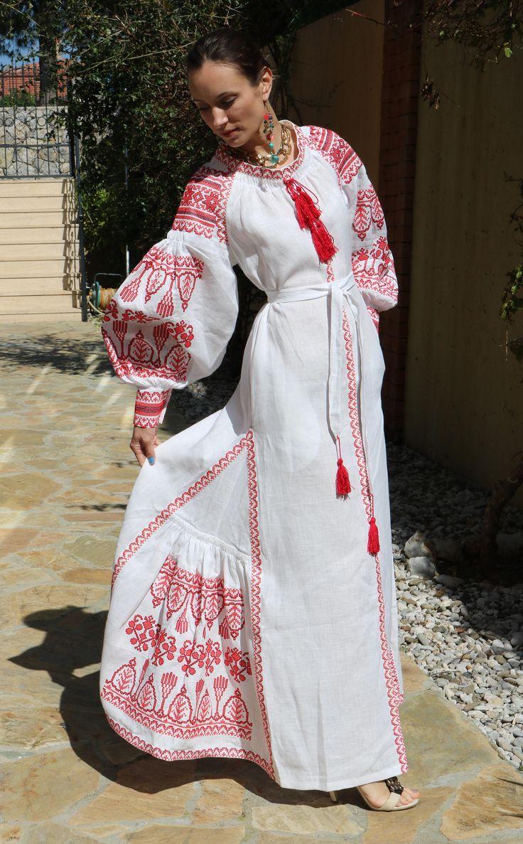 White vita kin style vyshyvanka linen Maxi dress red black embroidery size…