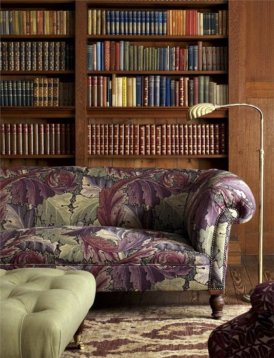 Acanthus Tapestry Upholstery Fabric An iconic William Morris pattern reproduced as a tapestry fabric in grape and heather.