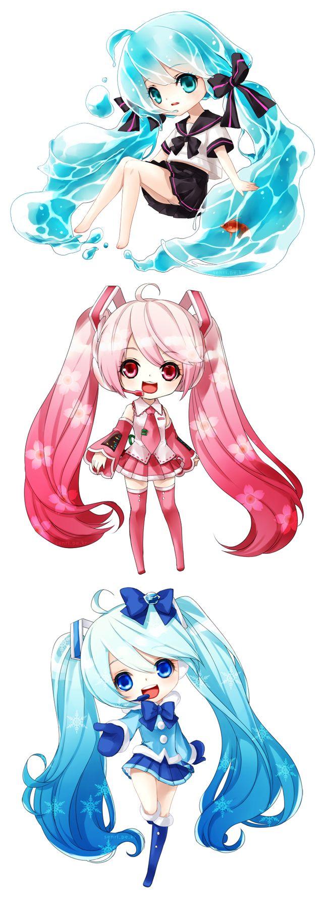 Summer Miku, Mizu Miku,Spring Miku, Sakura Miku, Winter Miku, and Yuki Miku (My favorite is Sakura Miku. ;) How about yours?)