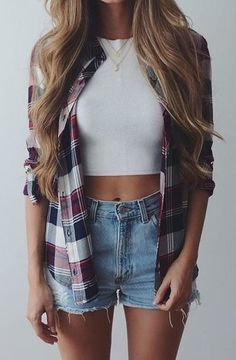 Cute fall outfit. Perfect outfit for fall. Flannel fashion. Highwaisted jean shorts. White cropped top.