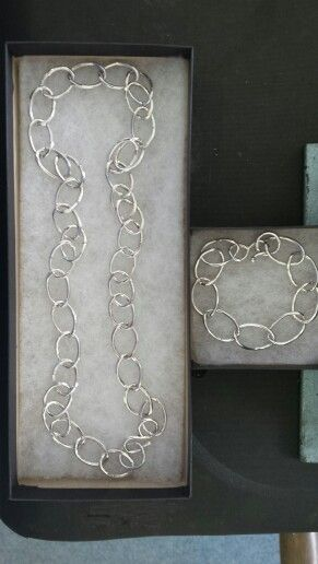 Silver chain and bracelet. Every link made & soldered.