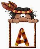 Alfabeto con indios ocultándose detrás de la letra.