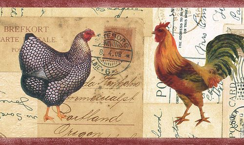 ROOSTERS COUNTRY KITCHEN 998 Brick Red Edges Wallpaper Wall